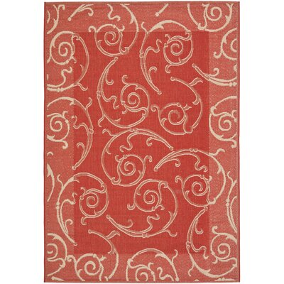 Alberty Red / Natural Indoor/Outdoor Woven Rug Rug Size: Rectangle 27 x 5