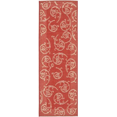 Short Red / Natural Indoor/Outdoor Woven Rug Rug Size: Runner 24 x 911