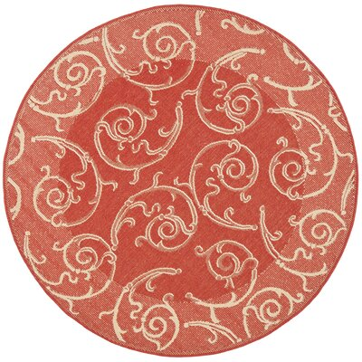 Alberty Red / Natural Indoor/Outdoor Woven Rug Rug Size: Round 67