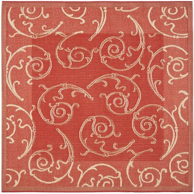 Alberty Red / Natural Indoor/Outdoor Woven Rug Rug Size: Square 710