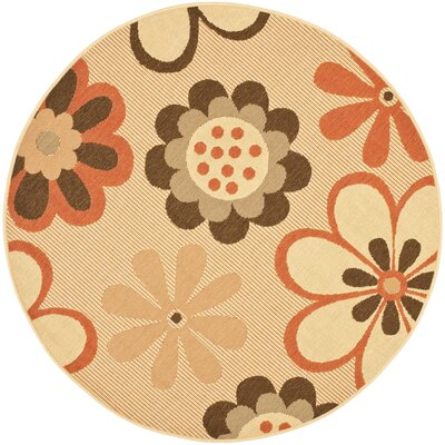 Short Natural Brown/Terracotta Rug Rug Size: Round 67