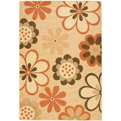 Short Natural Brown/Terracotta Rug Rug Size: 53 x 77
