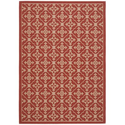 Short Red / Creme Indoor/Outdoor Rug Rug Size: 67 x 96