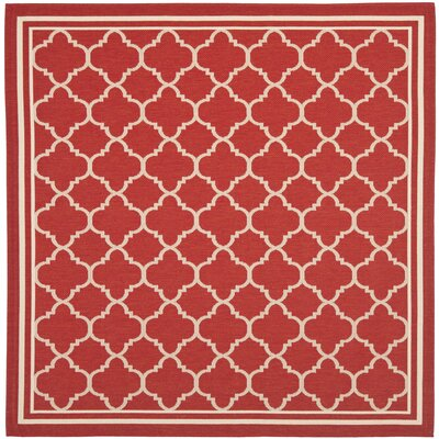 Short Red Indoor/Outdoor Power Loomed Area Rug Rug Size: Square 4'