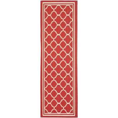 Short Red Indoor/Outdoor Power Loomed Area Rug Rug Size: Runner 23 x 8