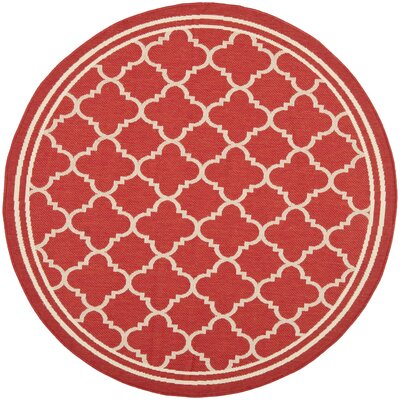 Short Red Indoor/Outdoor Power Loomed Area Rug Rug Size: Round 53