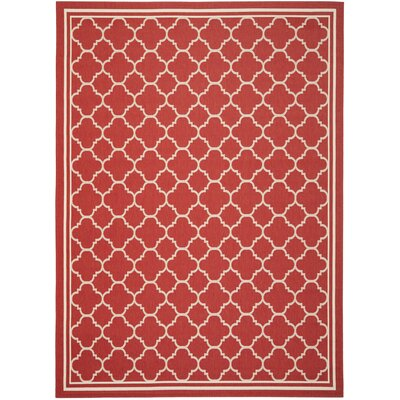 Short Red Indoor/Outdoor Power Loomed Area Rug Rug Size: 5'3