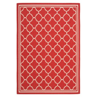Short Red Indoor/Outdoor Power Loomed Area Rug Rug Size: Rectangle 4 x 57