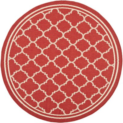 Short Red Indoor/Outdoor Power Loomed Area Rug Rug Size: Round 4