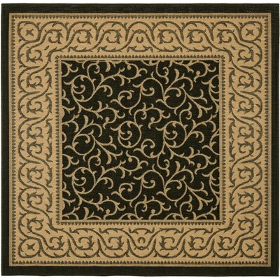 Short Black / Natural Indoor/Outdoor Rug Rug Size: Square 67