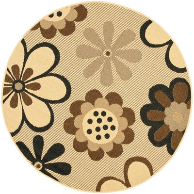 Short Natural Brown/Black Rug Rug Size: Round 53