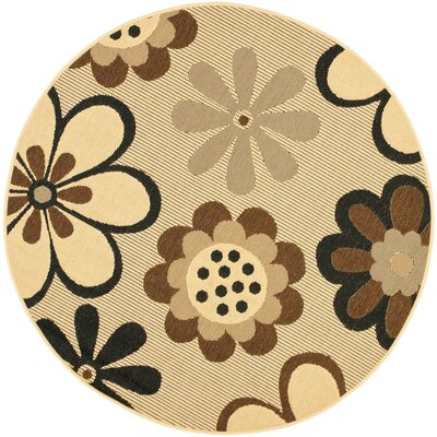 Short Natural Brown/Black Rug Rug Size: Round 67
