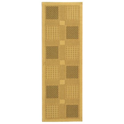 Short Natural / Olive Outdoor Transitional Area Rug Rug Size: Runner 24 x 67
