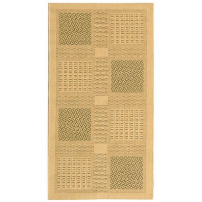 Short Natural / Olive Outdoor Transitional Area Rug Rug Size: Rectangle 2 x 37