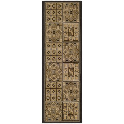 Short Light Brown/Black Outdoor Rug Rug Size: Runner 24 x 67
