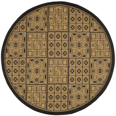 Short Light Brown/Black Outdoor Rug Rug Size: Round 67