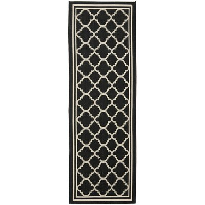 Short Black/Beige Indoor/Outdoor Rug Rug Size: Runner 23 x 8