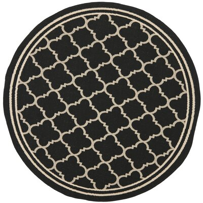 Short Black/Beige Indoor/Outdoor Rug Rug Size: Round 4