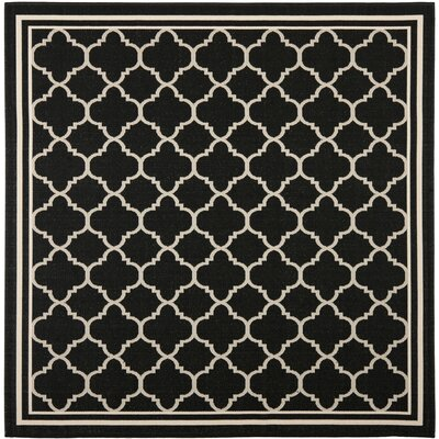 Short Black/Beige Indoor/Outdoor Rug Rug Size: Square 53