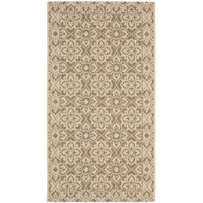 Short Brown / Creme Indoor/Outdoor Rug Rug Size: Rectangle 27 x 5