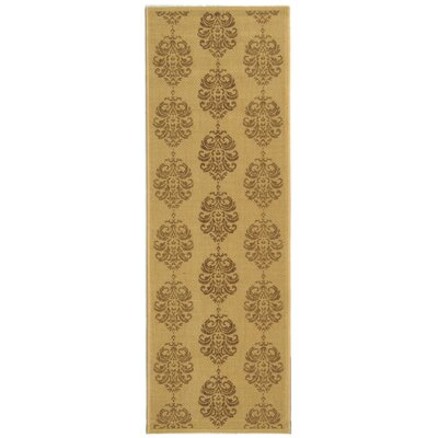 Short Natural/Brown Power Loomed Outdoor Rug Rug Size: Runner 24 x 67