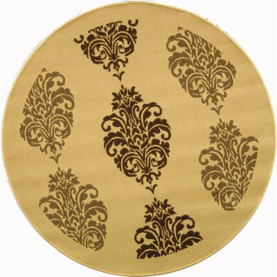 Short Natural/Brown Power Loomed Outdoor Rug Rug Size: Round 53