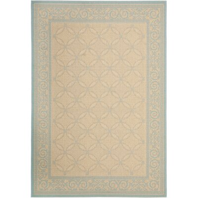 Short Cream / Aqua Indoor/Outdoor Rug Rug Size: 53 x 77