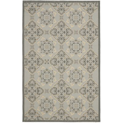 Short Light Grey/Anthracite Indoor/Outdoor Loomed Rug Rug Size: 53 x 77