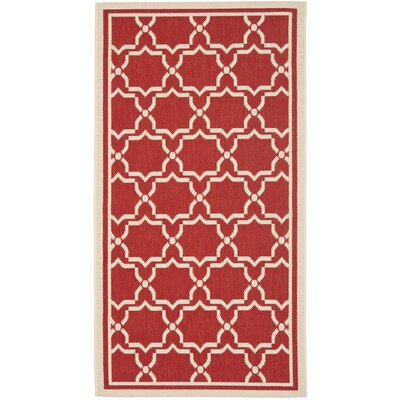 Short Red / Bone Indoor/Outdoor Rug Rug Size: 53 x 77