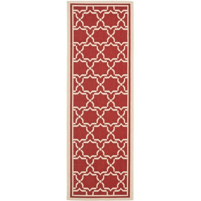 Short Red / Bone Indoor/Outdoor Rug Rug Size: Runner 24 x 911
