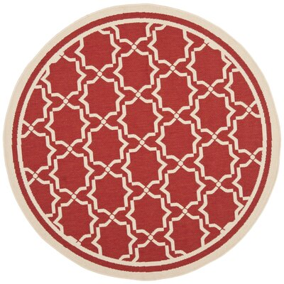Short Red / Bone Indoor/Outdoor Rug Rug Size: Round 53