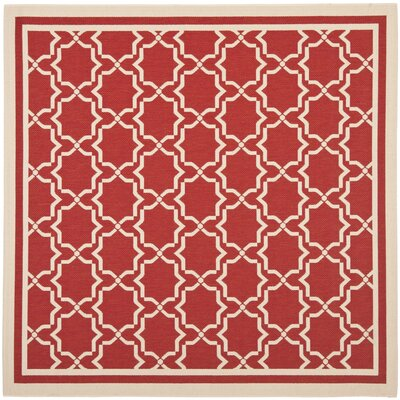 Short Red / Bone Indoor/Outdoor Rug Rug Size: Square 67