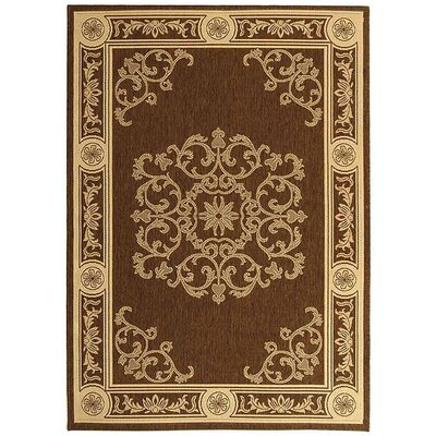 Short Chocolate / Natural Outdoor Area Rug Rug Size: 53 x 77