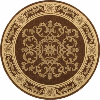 Short Chocolate / Natural Outdoor Area Rug Rug Size: Round 53