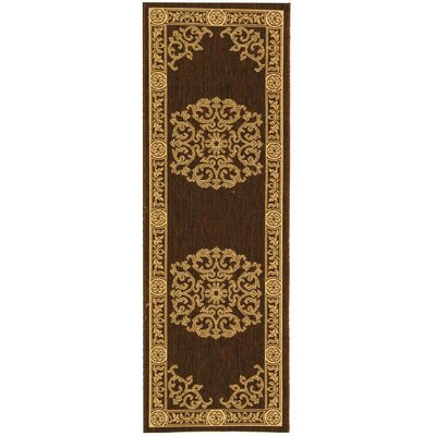 Short Chocolate / Natural Outdoor Area Rug Rug Size: Runner 23 x 10