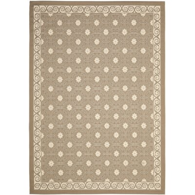 Short Dark Beige / Beige Polypropylene Indoor/Outdoor Rug Rug Size: 53 x 77