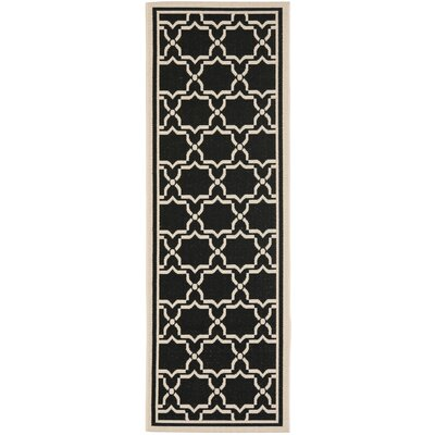 Short Black & Beige Area Rug Rug Size: Runner 24 x 12