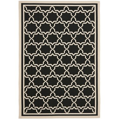 Short Black & Beige Area Rug Rug Size: Rectangle 53 x 77
