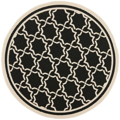 Short Black & Beige Area Rug Rug Size: Round 67