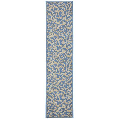 Short Persian Blue Area Rug Rug Size: Runner 23 x 12