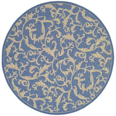 Short Persian Blue Area Rug Rug Size: Round 53