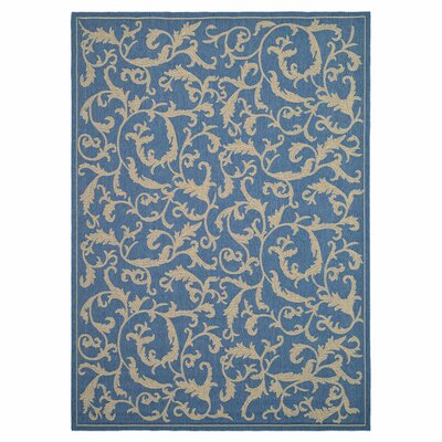 Short Persian Blue Area Rug Rug Size: Rectangle 67 x 96