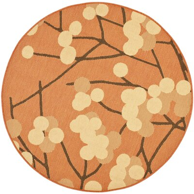 Short Terra Woven Natural / Brown Contemporary Rug Rug Size: Round 53