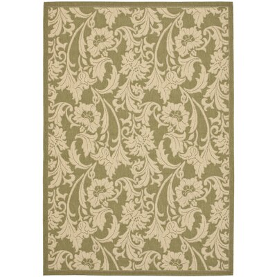 Short Olive/Creme Outdoor Area Rug Rug Size: Rectangle 4 x 57