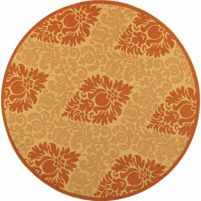 Short Natural/Terracottal Outdoor Area Rug Rug Size: Round 53