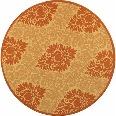 Short Natural/Terracottal Outdoor Area Rug Rug Size: Round 67