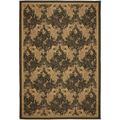 Short Black Outdoor Area Rug Rug Size: 53 x 77