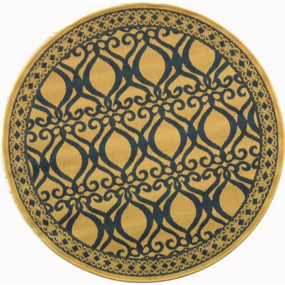 Short Natural & Olive Outdoor aREA Rug Rug Size: Round 67
