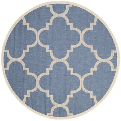 Short Lattice Blue/Beige Indoor/Outdoor Area Rug Rug Size: Round 7'10