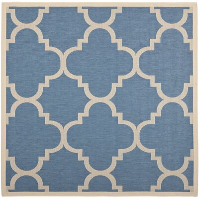 Short Lattice Blue/Beige Indoor/Outdoor Area Rug Rug Size: Square 4